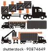 A drink/beverage/chemical compound from empty bottle to the consumer - vector cartoon illustration set in five schematic charts, Part Two, i.e. boxed goods loaded on truck and a shipping container - stock photo