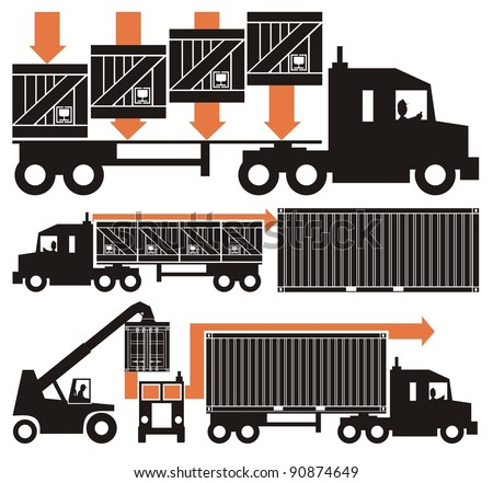 A drink/beverage/chemical compound from empty bottle to the consumer - vector cartoon illustration set in five schematic charts, Part Two, i.e. boxed goods loaded on truck and a shipping container - stock vector