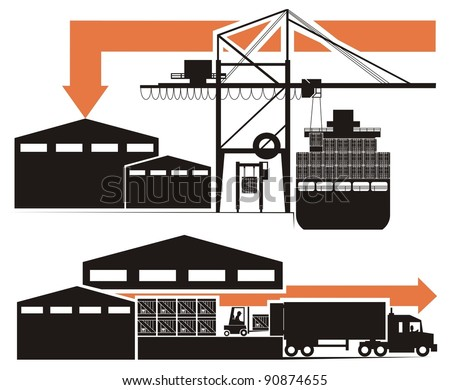 A drink/beverage/chemical compound from empty bottle to the consumer - vector cartoon illustration set in five schematic charts, Part Four, i.e. the shipping container is discharged to a warehouse - stock vector