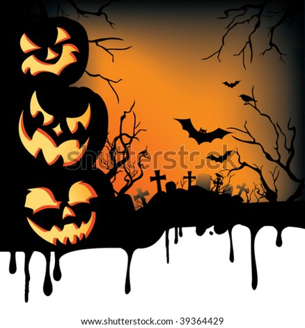 A dripping Halloween background with jack-o-lanterns, bats, crows, and an eerie graveyard. - stock vector