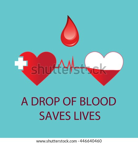 A drop of blood saves lives. Cardiogram blue on background.