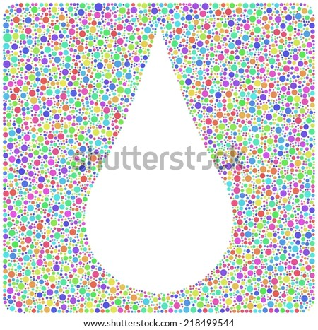 A drop of water sign. Mosaic of harlequin circles into a square icon - stock vector