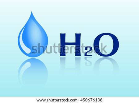 a drop of water with reflection isolated on a blue background. Formula of water. Vector - stock vector
