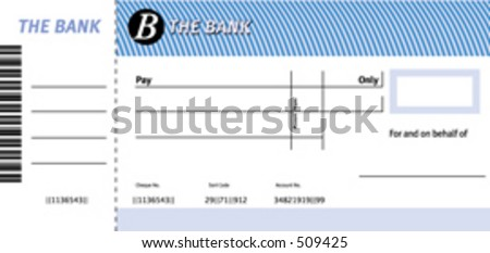 A dummy check / cheque for use at presentations - simply add your logo and the payee / amounts - vector image so it'll scale up to a big cheque - stock vector