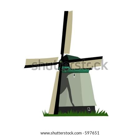 A Dutch windmill 01 (Vectors 02) - stock vector