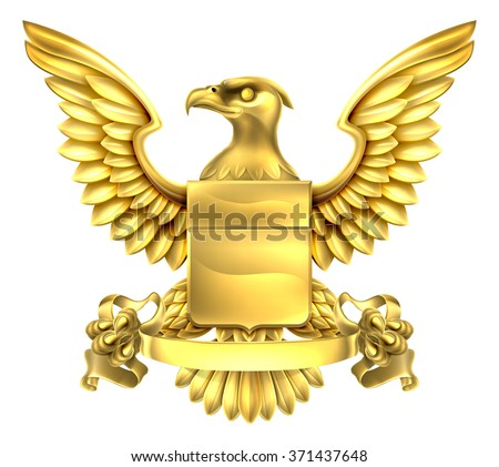 A eagle gold metal shield heraldic heraldry coat of arms design with a banner scroll. - stock vector
