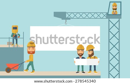 A experienced team workers with white board wearing helmets . A Contemporary style with pastel palette, soft blue tinted background. Vector flat design illustration. Horizontal layout. - stock vector