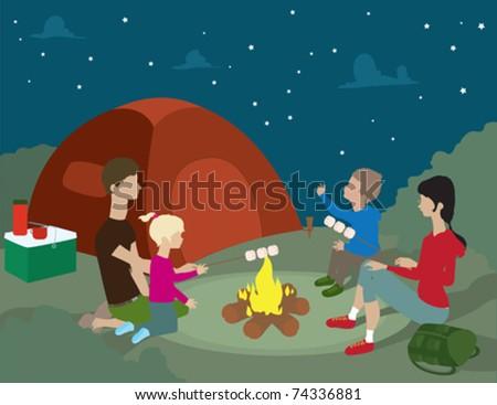 A Family Camping At Night