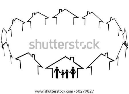 A family find a home a new community in circle of neighbors houses. - stock vector