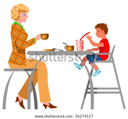 A family in the cafe - stock vector