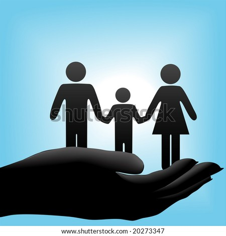 A family of mother, father, child symbols are held in a cupped hand on a blue background. - stock vector