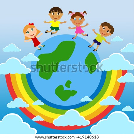 A family. Parents Children's Day. Stand on earth. Underneath the rainbow, blue planet. Symbol of happiness, prosperity and peace. It can be used to Child Protection Day, Family Day, for magazines. - stock vector