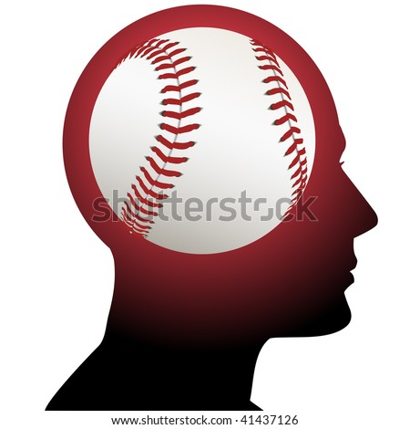 A fan has baseball in mind as he thinks about sports. - stock vector