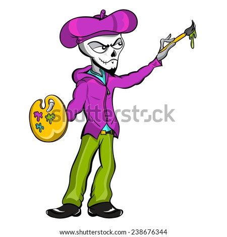 A fantasy vector cartoon illustration of a zombie skeleton mime artist holding his paint brush and pallet. - stock vector