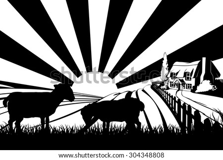 A farm house cottage in an idyllic landscape of rolling hills with two sheep in the foreground - stock vector