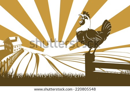A farm with farmhouse in the distance and a rooster or cockerel crowing on a fence post at dawn - stock vector