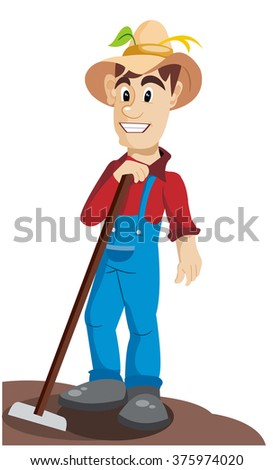 a farmer with a shovel - stock vector