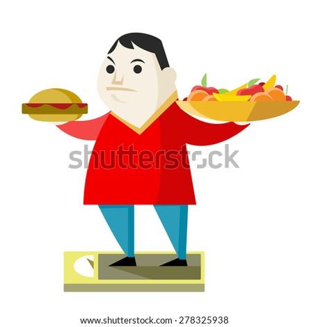 a fat man with a burger and healthy food - stock vector