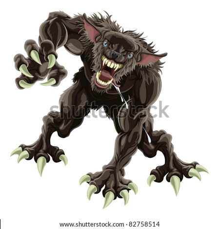 A fearsome werewolf monster attacking the viewer - stock vector