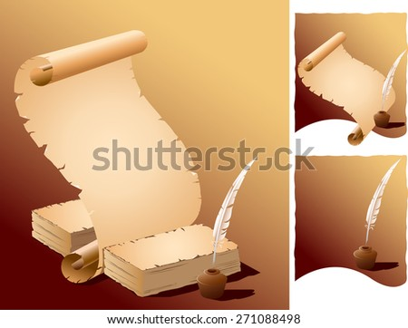 A feather pen, ink pot and ancient paper roll with torn edges.  - stock vector