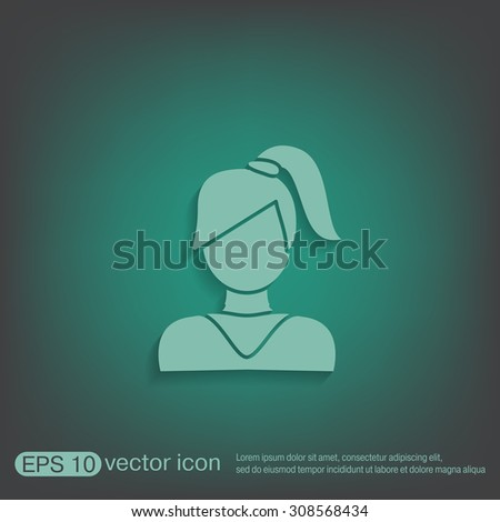 A female avatar. girl with hair tail. Avatar of a woman with long hair and bangs - stock vector