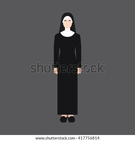 A female avatar of professions people. Full body. Flat style icons. Occupation avatar. Sister / nun icon. Vector illustration - stock vector