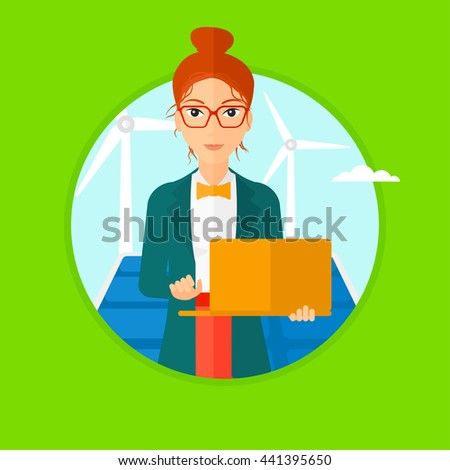 A female worker of solar power plant and wind farm. Woman with laptop on a background of solar power plant and wind turbines. Vector flat design illustration in the circle isolated on background. - stock vector