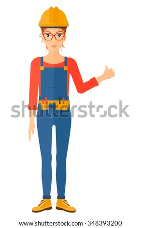 A female young builder in helmet showing thumbs up sign vector flat design illustration isolated on white background. Vertical layout. - stock vector