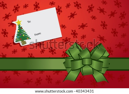 A festive Christmas gift with a gifting sticker and a shiny green bow. - stock vector
