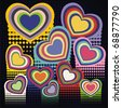 a few colorful hearts on black background. Vector illustration - stock vector