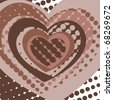 a few hearts on brown background. Vector illustration - stock vector