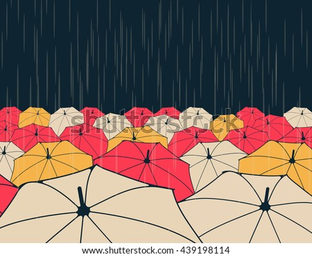 a field of umbrellas under the rain, in night blue, yellow and red - stock vector