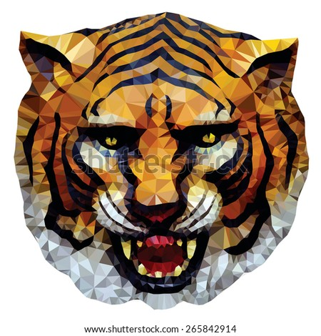 A fierce tiger head, low poly vector illustration.  - stock vector