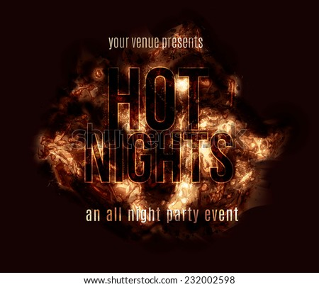 A fiery hot explosion text effect background with glowing abstract grunge elements - stock vector
