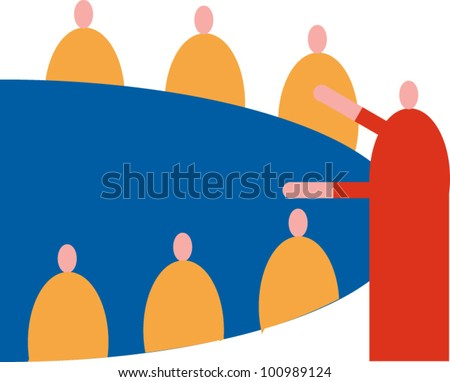 A figure in red leads a meeting of a group seated around a round table - stock vector