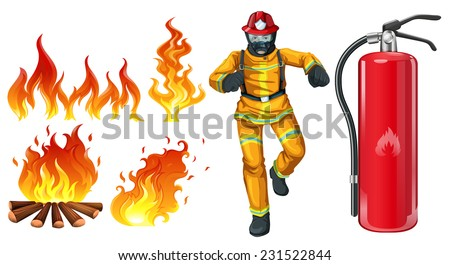 A fireman with a fire extinguisher on a white background  - stock vector