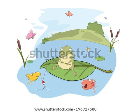 A fisher toad cartoon