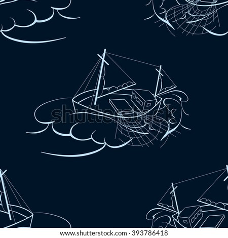 A fishing ship. Seamless background. Marine and underwater themes. - stock vector