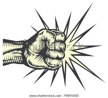 A fist punching out striking or hitting with impact lines - stock vector
