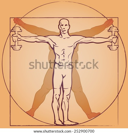 A fit man exercising with dumbbells in front of a fat man's silhouette. Logo template referencing to the Leonardo Da Vinci's Vitruvian man. EPS10 vector illustration. - stock vector
