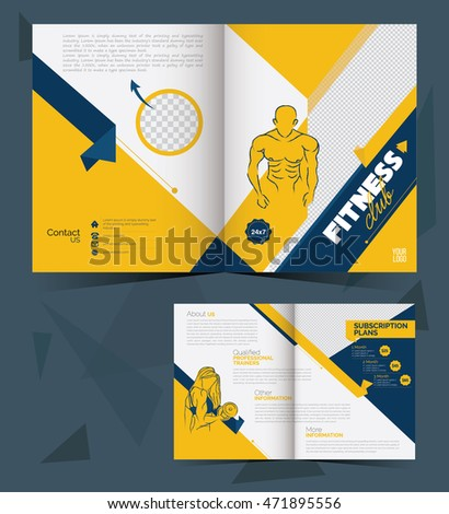 A Fitness Brochure Layout Template Stock Vector