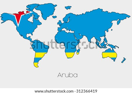 Flag Illustration Inside Shape World Map Stock Vector 312366419 ...