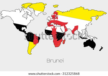 A Flag Illustration inside the shape of a world map of the country of Brunei - stock vector