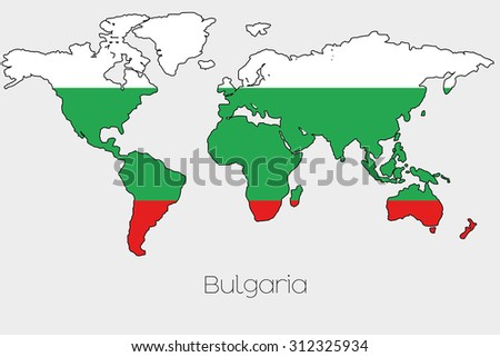 A Flag Illustration inside the shape of a world map of the country of  Bulgaria