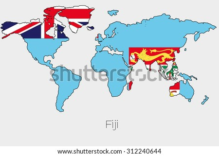 World Map Fiji Country. A Flag Illustration inside the shape of a world map country Fiji Political Map World Country Flags Stock Vector 345250973