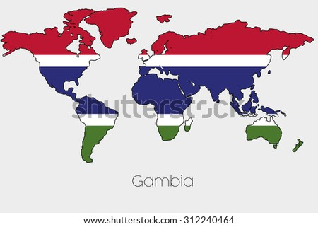 A Flag Illustration inside the shape of a world map of the country of Gambia