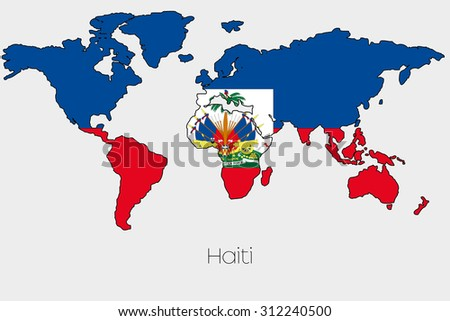 Flag illustration inside shape world map stock vector 312240500 a flag illustration inside the shape of a world map of the country of haiti gumiabroncs