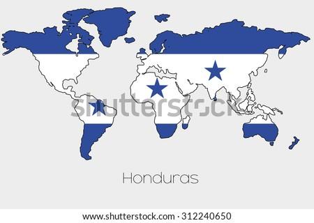 Flag Illustration Inside Shape World Map Stock Vector 312240650 ...