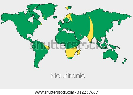 A Flag Illustration inside the shape of a world map of the country of Mauritania