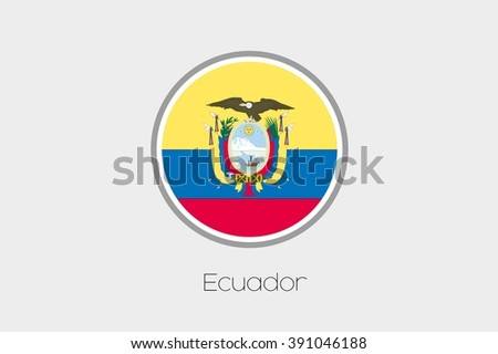 A Flag Illustration of the country of Ecuador - stock vector